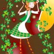 Stock Vector: Girl - leprechaun