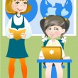 Stock Vector: Schoolgirls