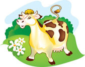 A cow on a meadow — Stock Vector