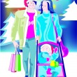 Stock Vector: Christmas shopping
