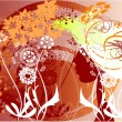 Profile of a girl among the flowers - Stock Vector