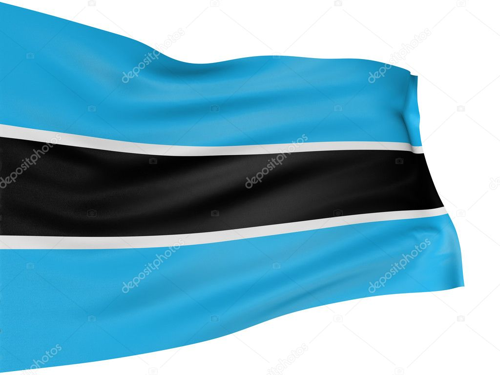 3D Flag of Botswana with fabric surface texture. White background.  Stock Photo #1973837