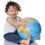 Baby with globe. — Stock Photo #2043724