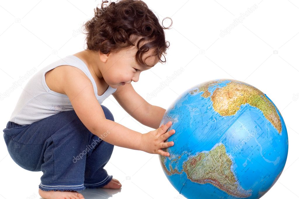 Child playing with globe,isolated on a white background. — Stock Photo #2047863