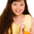 Girl with juice — Stock Photo