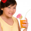 Girl with juice — Stock Photo #2055984