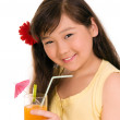 Girl with juice — Stock Photo #2485684