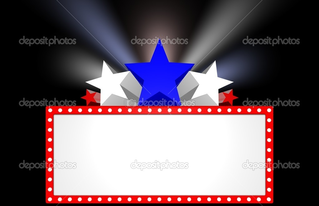 Patriotic movie marquee with stars and lights. — Stock Photo #1849339