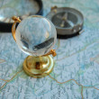 Stockfoto: Map, globe and magnifying glass