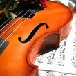 Stock Photo: Violin on music sheet and red rose