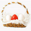 Basket with red and white eggs — 图库照片