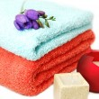 Towels and candles, spa relaxation — Stock Photo #1853627