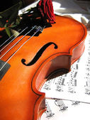 Violin on music sheet and red rose — Stock Photo