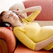 Pregnant womwith headphones — Foto Stock #1861558
