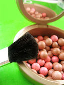 Blusher and brush — Stok fotoğraf