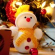 Christmas snowman and tree — Stock Photo