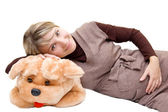 Smiling pregnant and big toy dog — Stock Photo