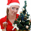 Santa helper with Christmas tree — Stock fotografie