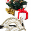 Mask and Christmas decoration — Stock Photo
