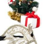 Mask and Christmas decoration — Stock Photo