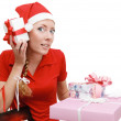 Santa elper with many gifts — Stock Photo