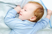 Baby boy lying on blanket — Stock Photo