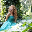 Stockfoto: Lady in emerald dress
