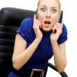Busy and shocked businesswoman — Stok fotoğraf
