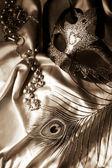 Pluma, granos y máscara de la mascarada — Foto de Stock
