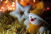 Christmas snowman and star — Stock Photo