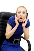 Busy and shocked businesswoman — Foto Stock