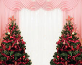 Two Christmas tree and curtains — Stock Photo