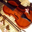 Old violin, fiddle-stick and music sheet — Stock Photo
