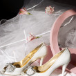 Wedding shoes, box and veil — Stock Photo