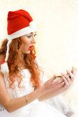 Surprised santa helper — Stock Photo
