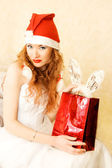 Redhead Santa helper — Stock Photo