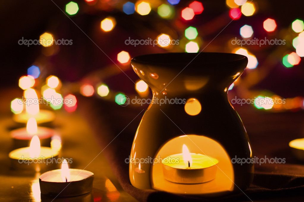 Aroma lamp with blur light as background  Stock Photo #1966447