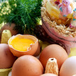 Eggs and chickens — Stock Photo