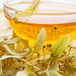 Tea from dry lime-tree flower — Stock Photo