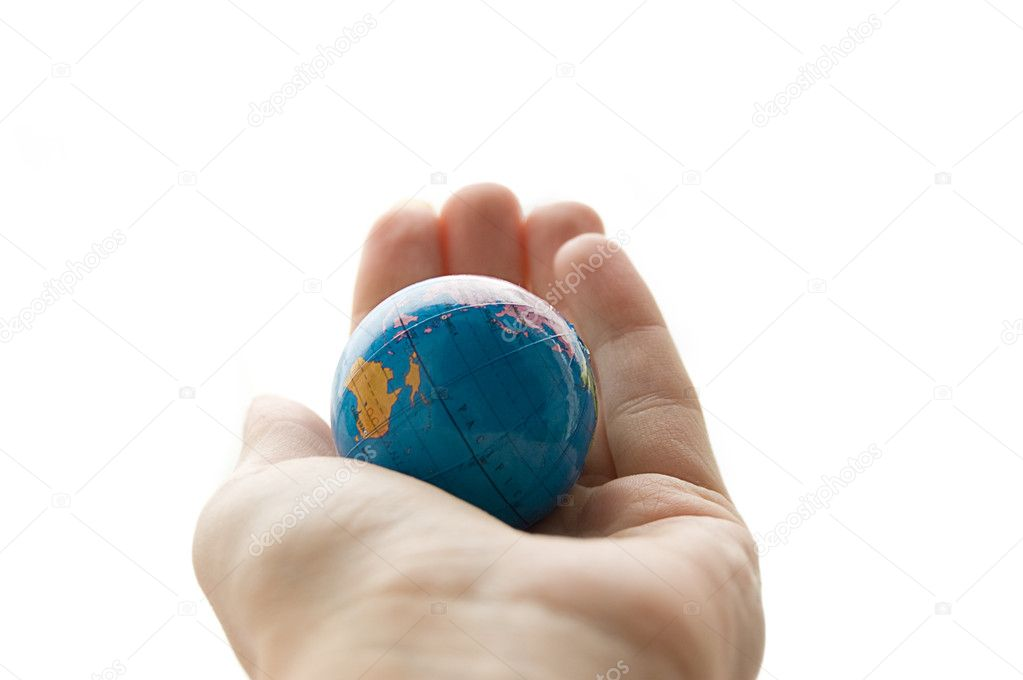 Globe in human palm isolated on white  Stock Photo #2068509