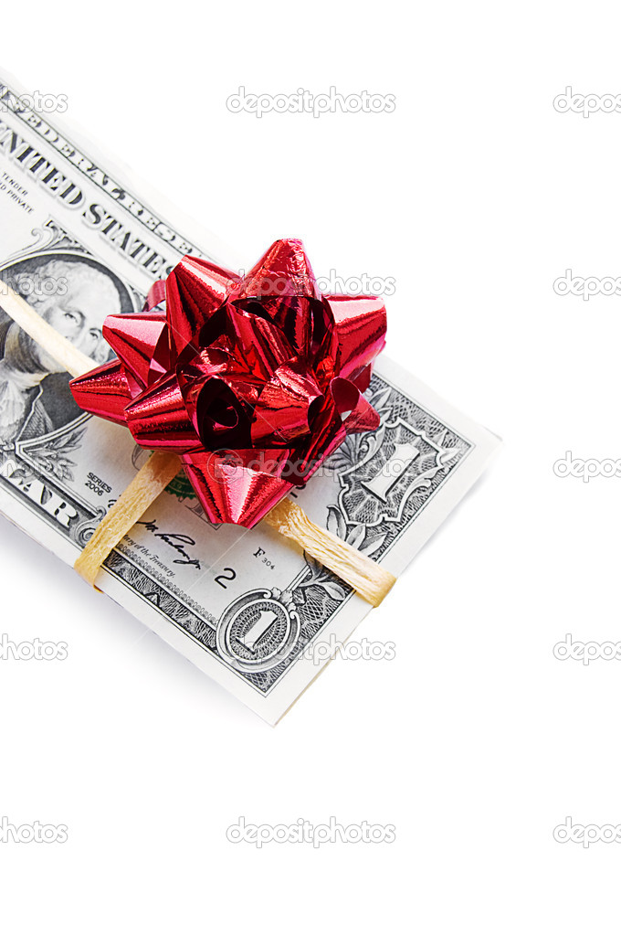 One dollar banknote tied with red bow on white  Stock Photo #2068852