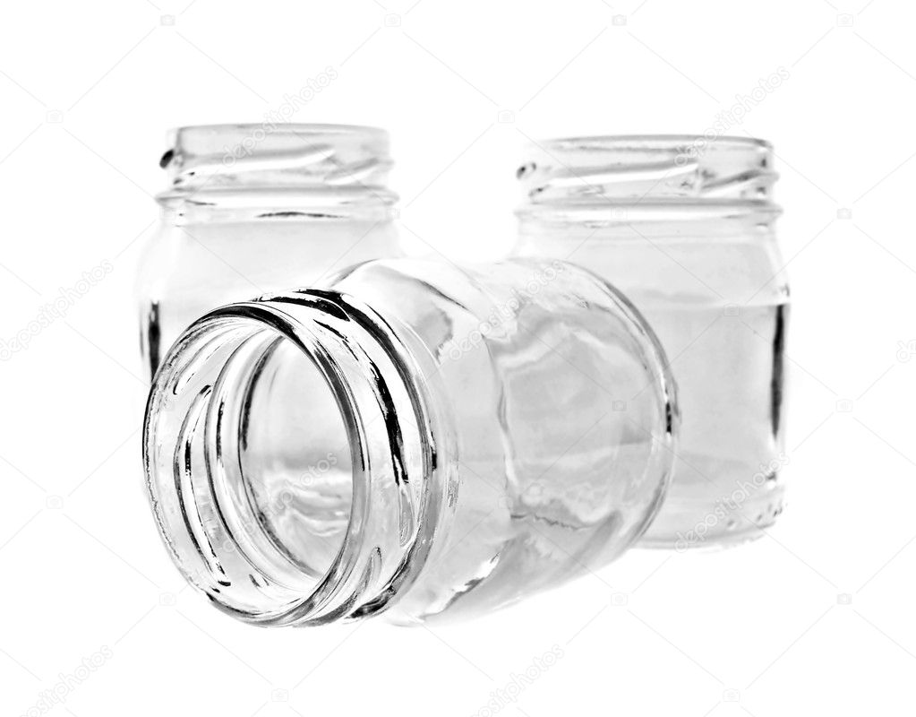Three glass jars on white — Stock Photo #2030402