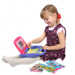 Girl and child learn computer — Stock Photo