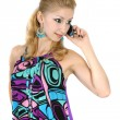 Girl in a bright dress with a phone — Stock Photo