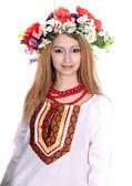 Ukrainian girl in a dress — Stock Photo