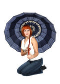 Beautiful girl with an open umbrella — Stock Photo