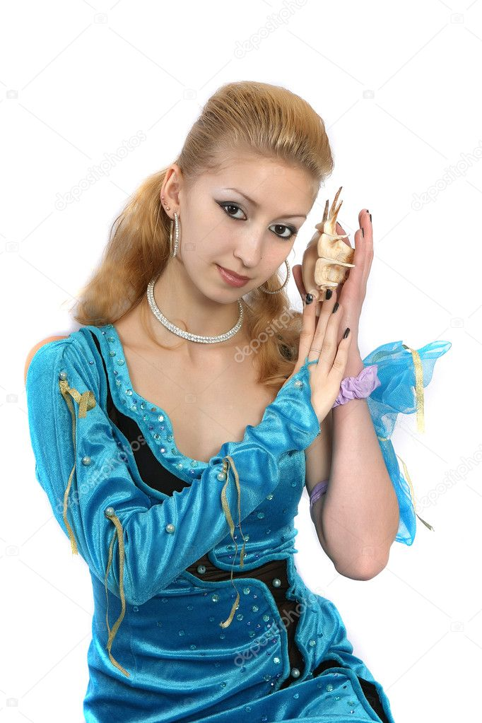 Girl in a blue dress marine — Stock Photo #2053793