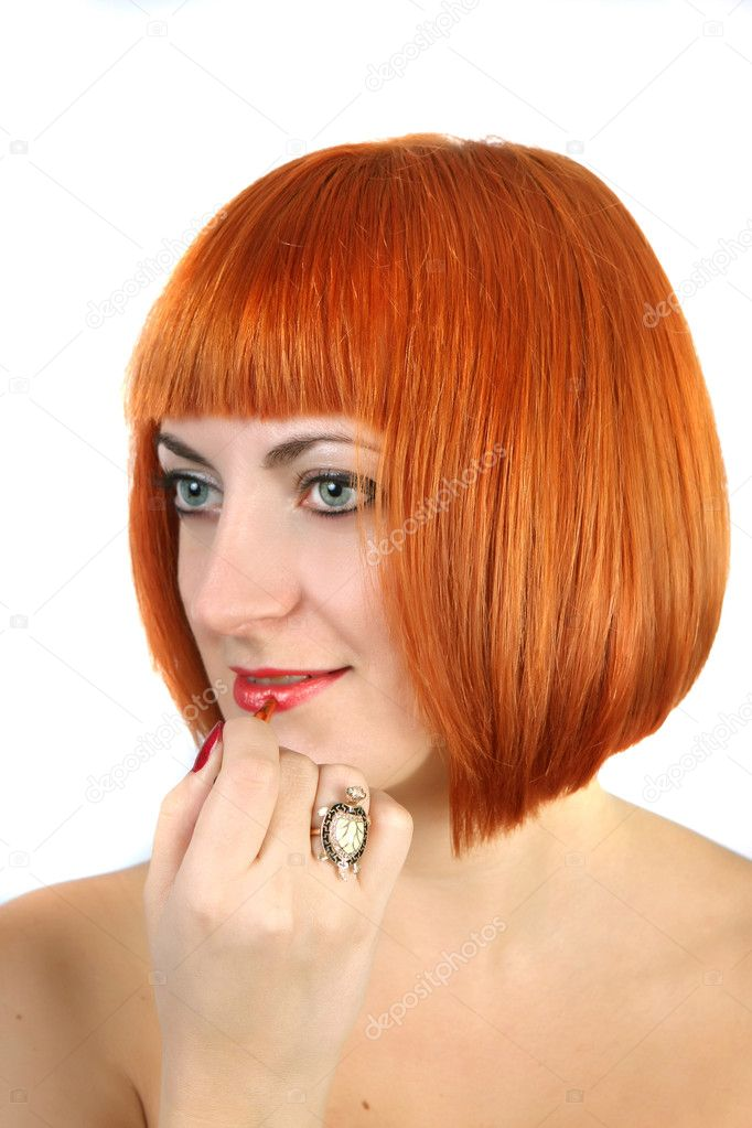 Young woman with red hair dye lips