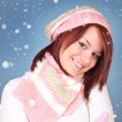Smiling winter girl - Stockfoto
