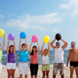 Funny with balloons — Stockfoto